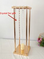 10 pcs new style Wedding Metal Gold Color Flower Vase Column Stand for Wedding Centerpiece Decoration