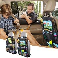 سيارة عائدة سيارة المنظم مع شاشة الكمبيوتر اللوحي حامل + 9 جيوب التخزين ركلة الحصير مقعد السيارة حماة الظهر للأطفال الصغار