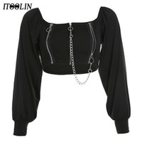 Itoolin Goth Футбалка Zip UP Урожай Топ Женщины вне плечевых цепей с длинным рукавом Y2K футболки готические темные черные винтажные одежды 210309