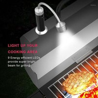 9 LED BBQ Grill Light Magnetic Base Barbecue Hose Light W5O7 Bendibile Outdoor Outdoor Combinazione Lavoro C8i21