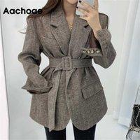 Aachoae Women Autumn Winter Wool Coats With Belt Casual Turn Down Collar Long Sleeve Pocket Outerwear Female Elegant Office Coat 211019