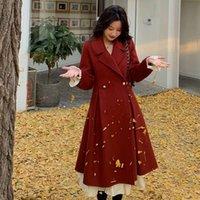 20212020 Yeni Kış Kırmızı Suit Yaka Yün Hepburn Küçük Tüvit Coat Kadınlar Bayanlar Için Kadınlar