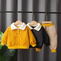 Clothing Sets Baby Boy Clothes Winter Thicken Warm Cotton Two Pieces Suit For Borns Fur Collar Black Yellow Toddlers Girls Set