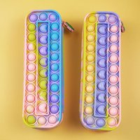Fidget Toys Pen Case Push It Bubble Sensory Colorful Decompression Toy Stress Reliever Autism Relief Anti-stress Rainbow for Kids Adult Multicolor