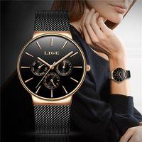 Montres femmes super minces en acier inoxydable en acier inoxydable LIGE TOP Marque de luxe Quartz Horloge Dames Montre-bracelet Relogio 201218