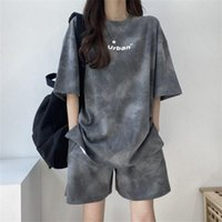 Gym Clothing Summer Tie-dye Sportswear Suit Short-sleeved Shorts 2 Piece Set Women Fashion Leisure Student Running Breathable Fitness
