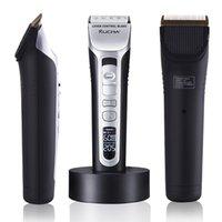 RUCHA Elektrikli Saç Kesme Şarj Edilebilir Saç Düzeltici Titanyum Seramik Bıçak LCD Ekran Salon Erkekler Saç Kesme Berber Makinesi 210302