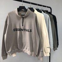 Winterreflektierende Essentials Halb-Zip-Stehkragen Sweatshirt Männer Frauen 1: 1 Hochwertiger Hoodie Pullover Lose Sweatshirt Männer