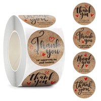Gift Wrap 500Pcs Supporting My Small Business Thank You Stickers 1''Round Kraft Paper Label Tags For Bags Boxes Envelope Scrapbook Sticker