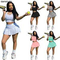 Women Two Piece Dress Letter Sleeveless T-shirts+Skirt Summer Jogging Suit S-2XL Outfits Stretchy Sportswear Running Casual Clothing 5012