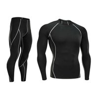 quick Sports Men's suit Tracksuits elastic drying tights running training basketball long sleeve 2-piece set