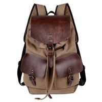 Backpack Women Men Canvas Leather Backpacks Large Capacity School Bags For Teenager Boys Girls Travel Laptop Backbag Mochila Rucksack