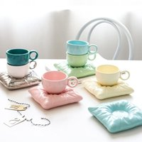 Cups & Saucers 200ml Nordic Style Ceramic Cup With Pillow Creative Couple Coffee Tea Christmas Gift Set Drinkware