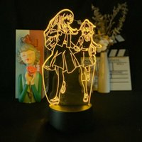 Anime skrivbordslampa med fjärr akryl 3D Illusion Night Light Led Bloom in i dig Smart Phone Control Nightlight Atmosphere Dekoration