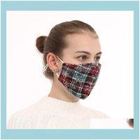 Designer Housekeeping Organization Home & Gardenchristmas Face Plaid Christmas Printed Masks Fashion Anti-Dust Breathable Washable Adult Mou