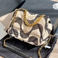 2021 S / S New Leather Women Bag Fashion Geométrico Impresión Hombro Bolso Stitching Cadena Bolso Dos colores Diseñadores de Lujo Bolsos Messenger Bag