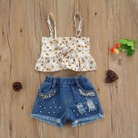 Kids Clothing Sets Girls Outfits Baby Clothes Childrens Suit Summer Children Wear Flower Sleeveless Top Pearl Denim Shorts 2Pcs B7498