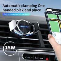 Car mobile phone holder wireless fast charging automatic induction aluminum alloy 15W air outlet navigation compatible with iPhone 13 pro promax mini