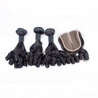 Virgem Brazilian Teunty Funmi Human Human Weaves com 4x4 Lace Fechamento 4 Pçs Lot Romance Curls Funmi Hair 3Bundles com fecho parte do meio