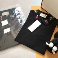 21ss mens tee camiseta conectar letra tee snake bobina bordado homens roupas roupas de manga curta mens camisas tag letras polo novo preto