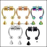 & Jewelrymagnet Clip On Nose Rings Studs Gold Rainbow No Hole Anti Allergy Stainless Steel Ring Body Jewelry For Women Fashion Will And Sand