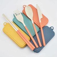 Свежий цвет оранжевый голубой пшеница соломенные столовые приборы детские нож вилка ложка палочки для еды портативные столовые приборы набор кемпинга