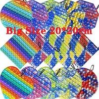 Stati Uniti Stock 20 cm di grande dimensione tavoletta di spinta bolla giocattoli giocattoli di colore che cambia in sole Autismo UV ha bisogno di Squishy Stress Reliever Decompressione del partito Partito favore Adult Kid Tie Dye Rainbow