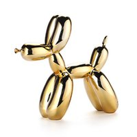 Jeff Koons Shiny Balloon Dog Statue Gold Dogs Arts and Crafts Ornaments Resin Office Living Room Home Soft Decorations Creative Simulation Animal Craft