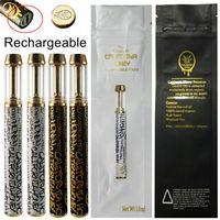캘리포니아 꿀 일회용 vape 펜 구리 충전식 1ml 분무기 카트 두꺼운 오일 기화기 530mAh 카트리지 포장 가방 cq 스티커 전자 담배