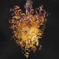 Современное искусство ручной вручную стеклянную люстру Золотой подвесной свет для гостиной бар Hotel 110-220V висит стеклянные подвесные светильники