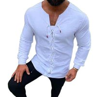 Men's Casual Shirts Solid Color Fashion Shirt Long Sleeve Blouses Men Clothing Summer Top Pullovers Collarless White Bandage Blusas Man