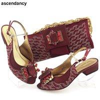 Платье обувь дизайнерская обувь и сумка набор высококачественной роскошной женщины, украшенные со стразами Африканский для женщин плюс размер