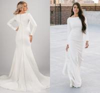 Vintage crepe sirena vestidos de novia modesta manga larga botones de cuello de barco retroceso simple elegante elegante lds vestidos nupciales novia religioso vestido de novia