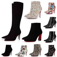 with Box Designer Red Bottoms Boots Women So Kate Ankle Knee High Heels Booties 8 10 12cm Chunky Pony Pointed Toes Boot Girls Ladies