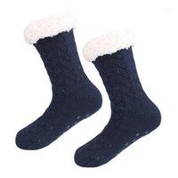 Sportstrumpor Kvinnor Vinter Fleecefoder Foder Sticka Non Slip Warm Fuzzy Mysiga Slipper Socks1