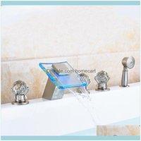 Robinets, douches comme maison jardinierie nickel brossé nickel 5pcs baignoire robinet de douche Robinet de salle de bain Drop livreur 2021 43WCI