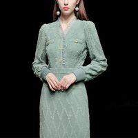 Casual Dresses Elegant Runway Designers Knitting Sweater Women Autumn Winter Clothes Plus Size Midi Robe Femme Party Vestidos