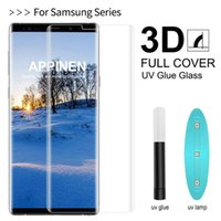 Full Glue 3D Curved Screen Protector For Samsung S21 S20 Ultra Note S10 Plus S10e S9 S8 Case Friendly Tempered Glass High Sensitive Unlock Fingerprint With Package