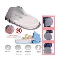 Diaper Bags Mummy Bag Portable Foldable Crib Travel Bed With Mosquito Net Baby Sleeping Basket Gray