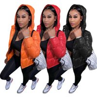 Ladies Solid Color Bread Jacket Fashion Trend Long Sleeve Thicken Zipper Hooded Coats Designer Female Winter New Casual Slim Outerwear