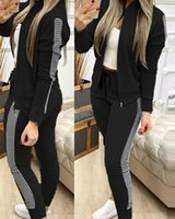 Women's Tracksuits 2021 Autumn And Winter Long Sports Leisure Zipper Stitching Plaid Suit Clothing