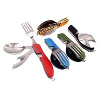 Forks Outdoor Camping Portable Fork Knife Tableware Tools ,Stainless Steel 3 In1 Multi-Function Folding Spoon&Fork Travel Sets