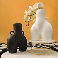 Tabletop Vaso Body Art Bust Statue Vasos De Cerâmica Vasos Artesanato Estatuetas Resina Flor Arranjo Casa Decoração Acessórios Modern