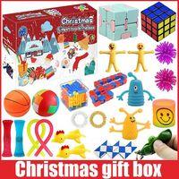 Новый Рождественский Blue Box Fidget Toys 24 Дней Адрес Календарь календарь Рождественское Бесенирование Музыка Подарочная коробка Рождественский Обратный отсчет 2021 Детские подарки C2992
