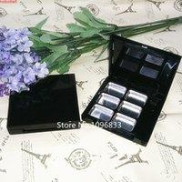 50 adet Klasik 6 Izgaralar Siyah Göz Farı Kılıfı Paletler Ile Boş Kozmetik Allık Kompakt Ruj Konteyner BoxGood Kavanoz
