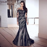 Charming Mermaid Mother Of The Bride Suits Sheer Scoop Neck Long Sleeves Applique Pleats Tulle Mum Dresses Party Gowns 2021 On Sale