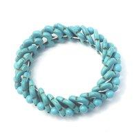 Gioielli fatti a mano all'ingrosso stile creativo braccialetto turchese tessuto turchese braccialetto singolo cerchio uomo e gioielli da donna