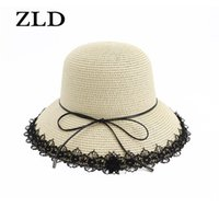 ZLD New Sun Hat Г-жа Корейский рыбацкий шляпа Beach Resort Открытый солнечный шапок Летняя свежая вода Бассейн складной козырек