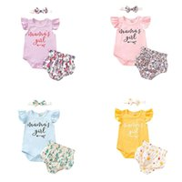 Clothing Sets Born Baby Girls Summer Clothes Set 3-piece Outfit Sleeve Letter Print Romper+Flower Printed Shorts+Headband Girl