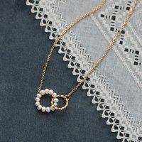 Elegante barocke natürliche Perlenanhänger Halskette Edelstahlkette Halo Runde Charme Halskette für Frauen Party